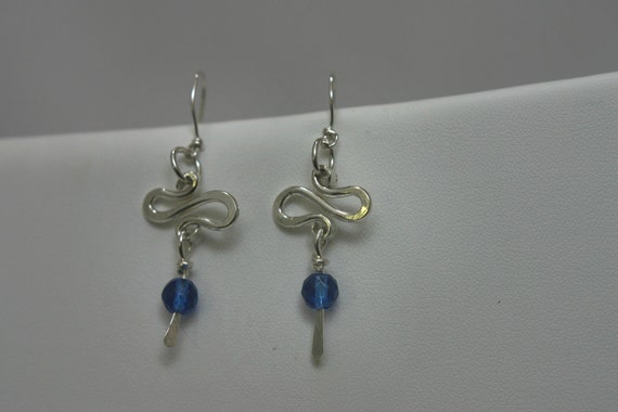 Sterling Silver Earrings with Blue Glass Beads