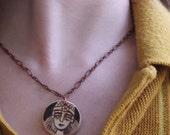 FINAL SALE Woodburned Necklace Warrior Goddess Vintage Copper Chain
