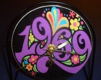 Woodstock 1969   Recycled CD Clock Art