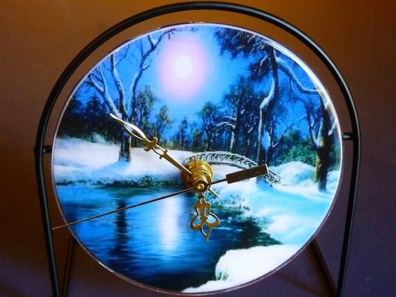 Moonlit Reflective Lake  Recycled CD Clock Art