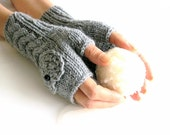 IN LOVE ... Gray Fingerless Gloves,  Wool Mittens, Women Arm Warmers with  a  HEART, Hand Knitted, Eco Friendly,