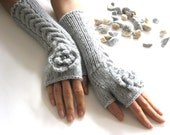 LIGHT  GRAY LONG...Fingerless Gloves, Wool Women Mittens, Winter  Arm Warmers with cable pattern and crochet flowers, Hand Knitted