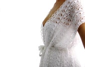 Summer Romance ....Elegant Hand Knitted  Lace Vest, Bolero, Shrug in pure White