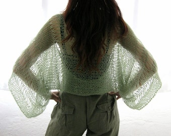 SAGE GREEN ....Elegant Hand Knitted Summer Shrug