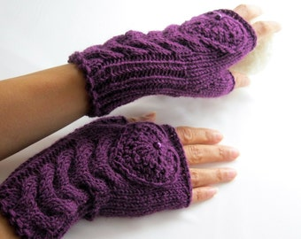 IN LOVE ... Deep Purple/ Plum Fingerless Gloves, Merino Wool Mittens, Arm Warmers with   Hearts, Hand Knitted, Eco Friendly