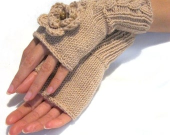 Hand Knit Fingerless Gloves with  flowers and wood beads  in beige