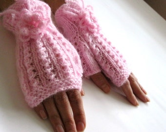 PINK DREAM...Romantic Fingerless Gloves, Wool Mittens, Arm Warmers with  crochet flowers, Hand Knitted, Eco Friendly