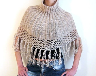 FREE Shipping ...PALE BEIGE ....Hand Knitted Polo Collar with grids and fringes