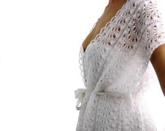 Summer Romance ....Elegant Hand Knitted  Wedding Lace Vest, Bolero, Shrug in  White  Color
