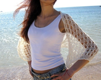 IVORY COTTON SHRUG  ....Elegant Hand Knitted Summer Shrug
