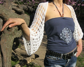 WHITE COTTON SHRUG  ....Elegant Hand Knitted Summer Shrug