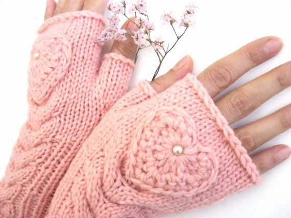 Pink Fingerless Wool Gloves with a heart, Mittens, Arm Warmers , Hand Knitted, Eco Friendly, Valentines Day