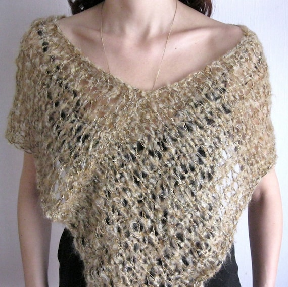 Elegant Hand Knitted Soft Mohair Shawl / Poncho