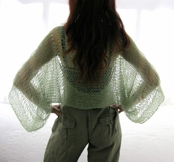 SAGE GREEN ....Elegant Hand Knitted Summer Shrug