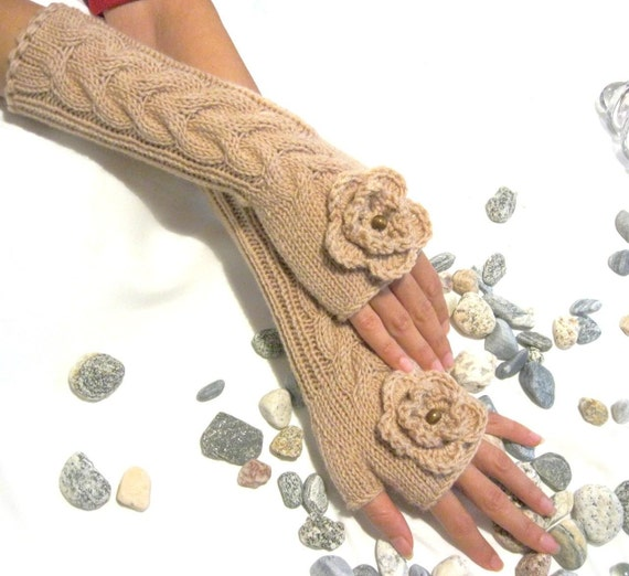 BEIGE LONG... Fingerless Gloves, Wool Mittens, Arm Warmers with cable pattern and crochet flowers, Hand Knitted