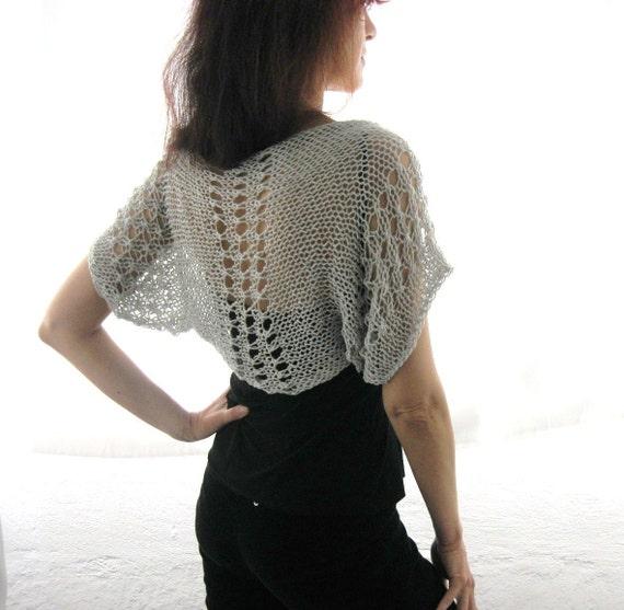 COTTON SHRUG  ....Elegant Hand Knitted Summer Shrug in Light Gray