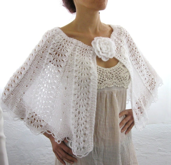 Elegant Hand Knitted  Lace  Bolero, Capelet  in  White