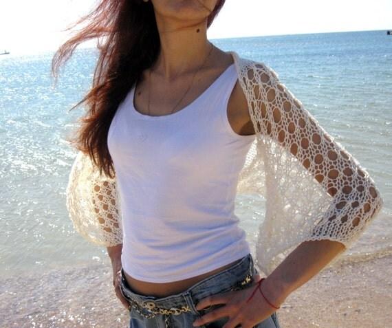 IVORY COTTON SHRUG  ....Elegant Hand Knitted Summer Shrug