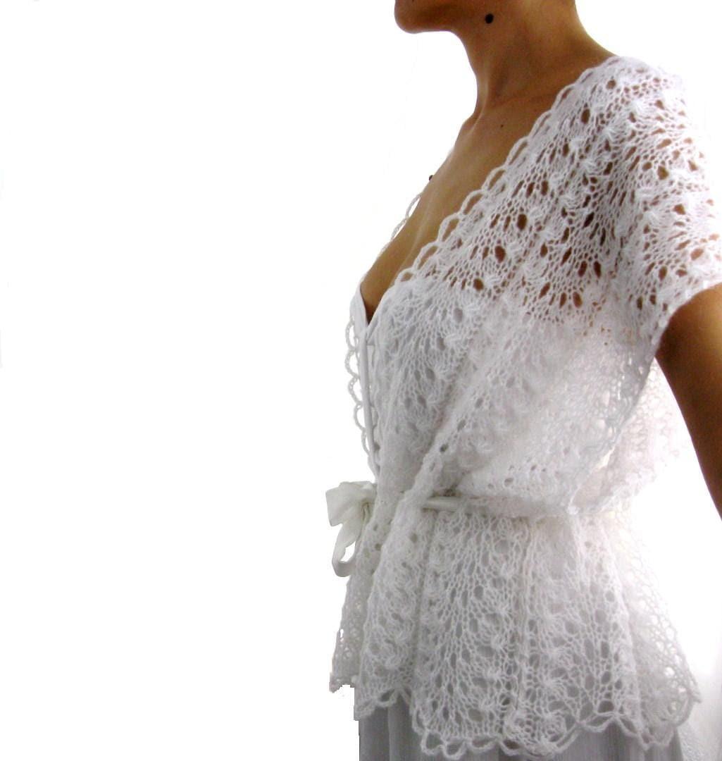 Knitting Pattern For Lace Vest : Summer Romance ....Elegant Hand Knitted Lace Vest Bolero