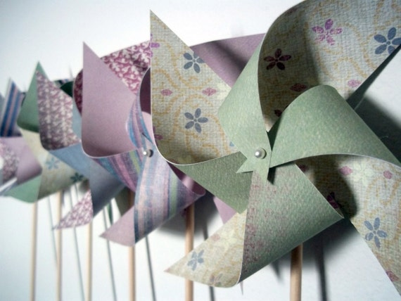 SALE Last Set. Spinnable Paper Pinwheels (6) Spring or Nursery Decor in Lilac & Green - Perfect for Easter Bouqet