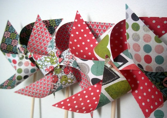 SALE Last Set. Spinnable Paper Pinwheels (6) Nursery Decor Pink Hearts Polka Dots Bunnies Birds Kitties Little Creatures