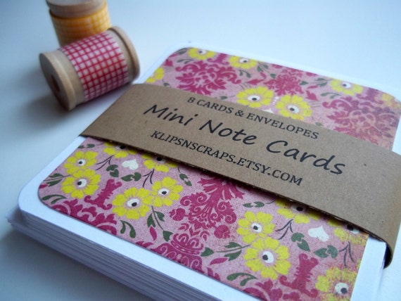 Pink & Yellow Flowers Mini Note Cards. Handmade Stationery (Set of 8) Square Folded Cards for Wedding or Shower Thank Yous
