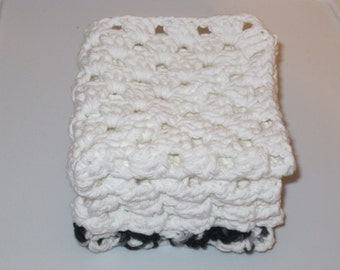 Set of Three Wash Cloths Black and White