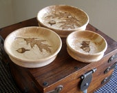RESERVED: birds eye maple nesting bowls set of 3 - autumn oaks and acorns