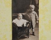 1900s RPPC of 2 Children in Nice Clothes