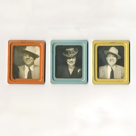 Set of 3  - 1940s Photomatic Photobooth Photos, Colorful Metal Borders. Man and Woman Identified.