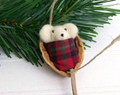 Christmas Ornament / Needle Felted Mouse Snuggled in Walnut / Made to Order
