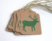 Rustic Gift Tags / Woodland Elk / Green and Brown Gift Labels / Eco-friendly Recycled Paper