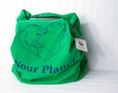 Upcycled bag, Eco-friendly reusable grocery bag, Market Tote, Love your planet green bag