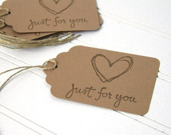 """Gift Tags, Rustic Gift Labels, """"Just For You"""" love tag, Brown Recycled Paper, set of 6"""