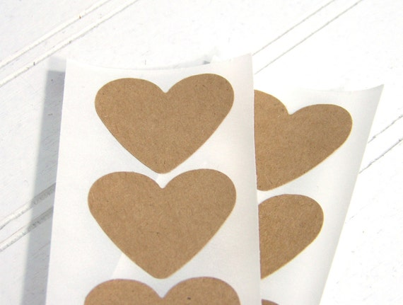 Eco-friendly Heart Stickers, Brown Bag Recycled Upcycled, envelope seals, Set of 12