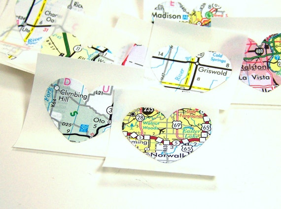 Upcycled Heart stickers, Recycled Maps, Eco friendly wedding / everyday invitation seals