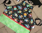 Childs Robots All Around Apron, Personalized Options Available