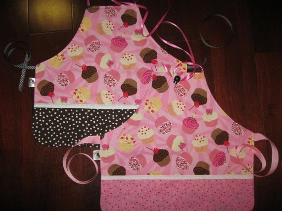 RESERVED for SherryDuncan, Set of 2 Matching Cupcake Aprons, Available with matching doll aprons for  additional charge