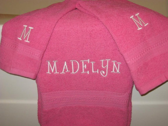 Personalized Bath Towels, Set of 3, You Pick The Colors