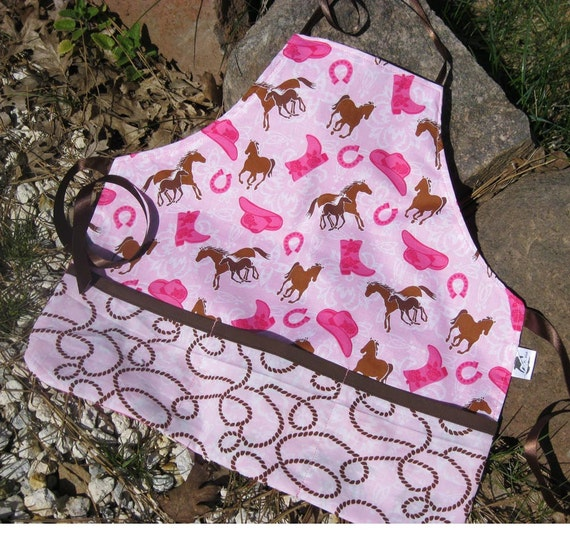 Girls Pink and Brown Horse Apron, Personalized Options