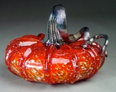 Hand Blown Glass Pumpkin  Cherry Jewel Tone - dunnikerdesigns