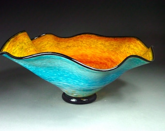 Hand Blown Glass Platter Bowl