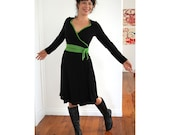 WrapAround  Dress in Organic Modal black/choose your own trim colour