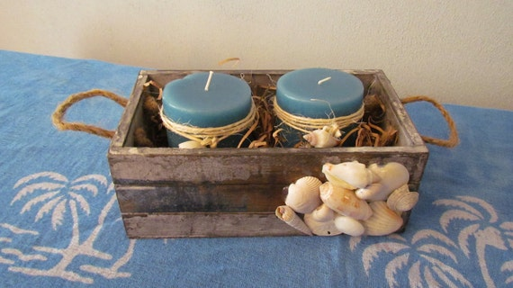 Wood Nautical Box with Shells and Candles
