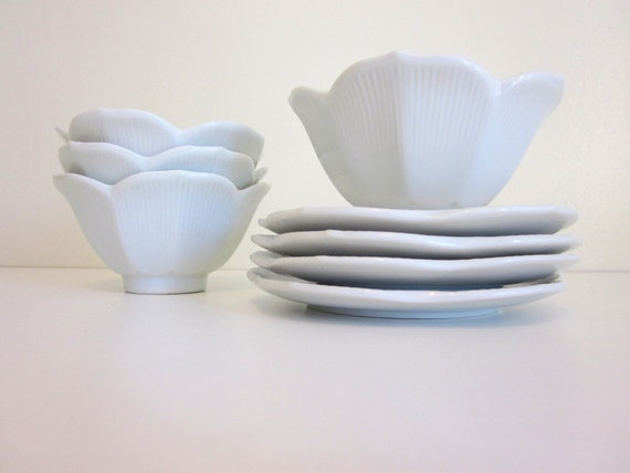 Vintage Lotus Flower Bowls with Saucers