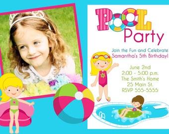 Pool Party Birthday Invitation with Photo (Printable )Digital File