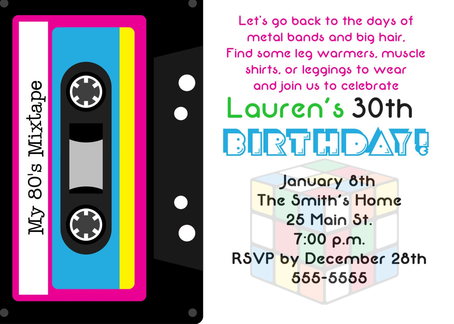 80S Invitation Wording – 30th Birthday Party Invitation Wording Samples