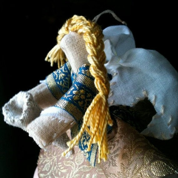 Valkyrie Poppet Doll with Spear or Drinking Horn Custom Yule Ornament Handmade Folk Art Asatru
