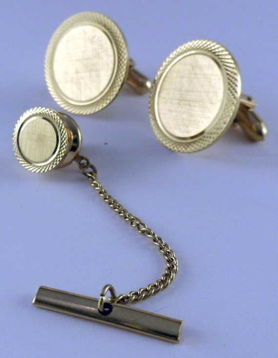 Vintage 10k Gold filled Cuff Links with Matching Tie Tack by LAMODE
