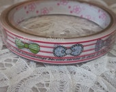 Deco Tape Kawaii Lovely Bows on Red and White Stripes 15m